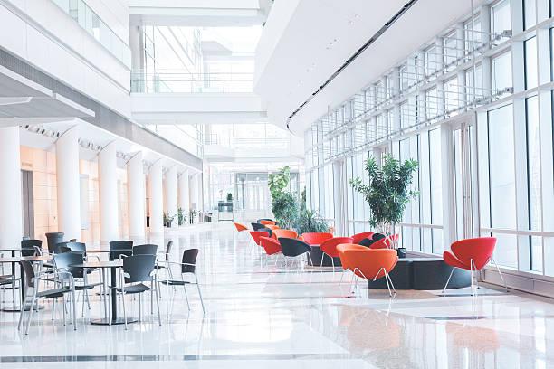 Modern Glass Office Lobby stock photo