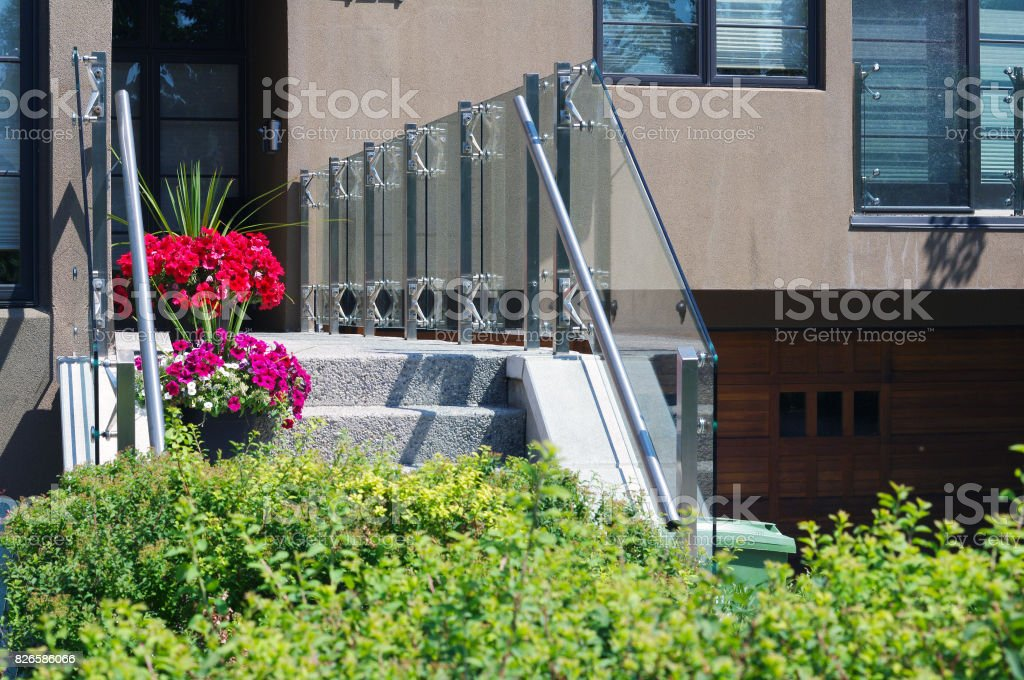 Modern glass railing stock photo
