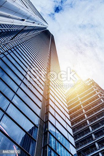 istock Modern glass silhouettes of skyscrapers 846288120