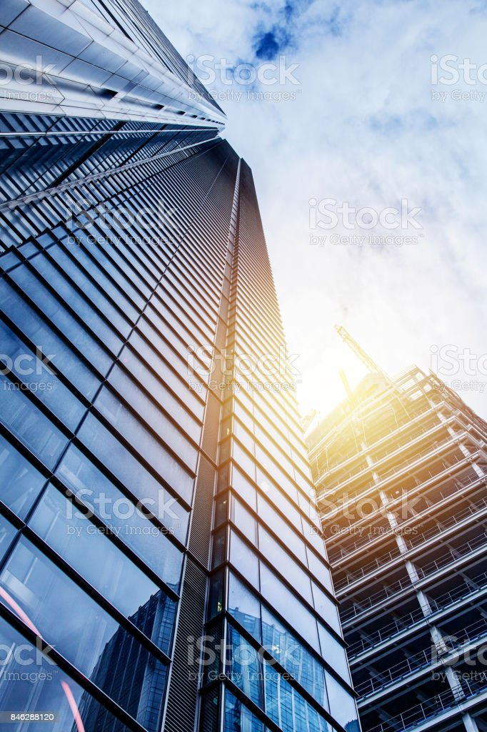 Modern glass silhouettes of skyscrapers stock photo