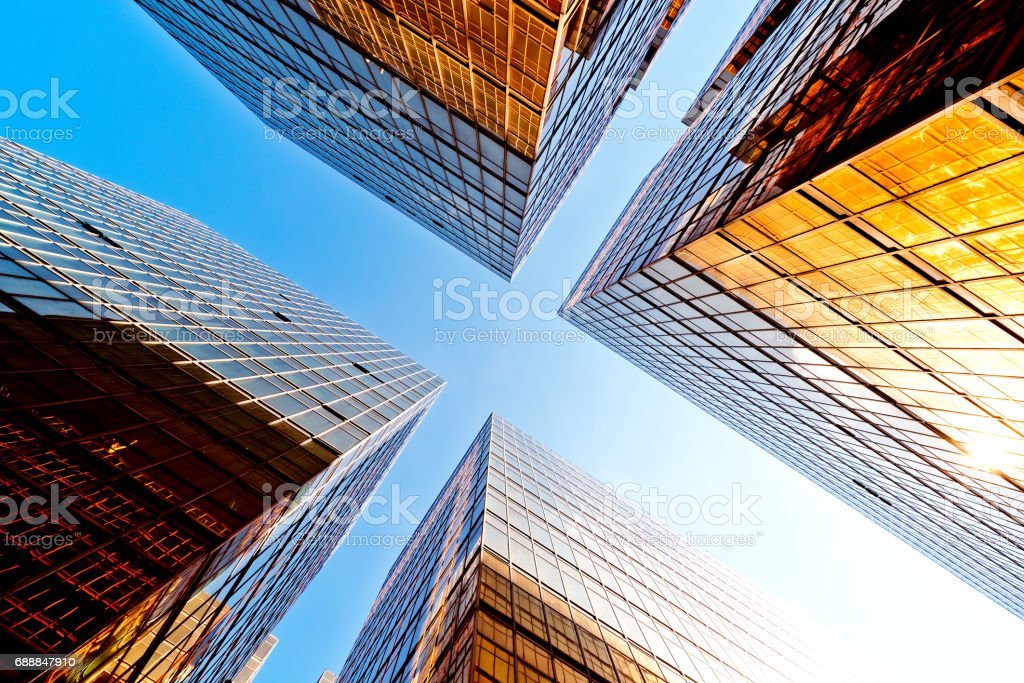 Modern glass skyscrapers perspective in the city – Foto