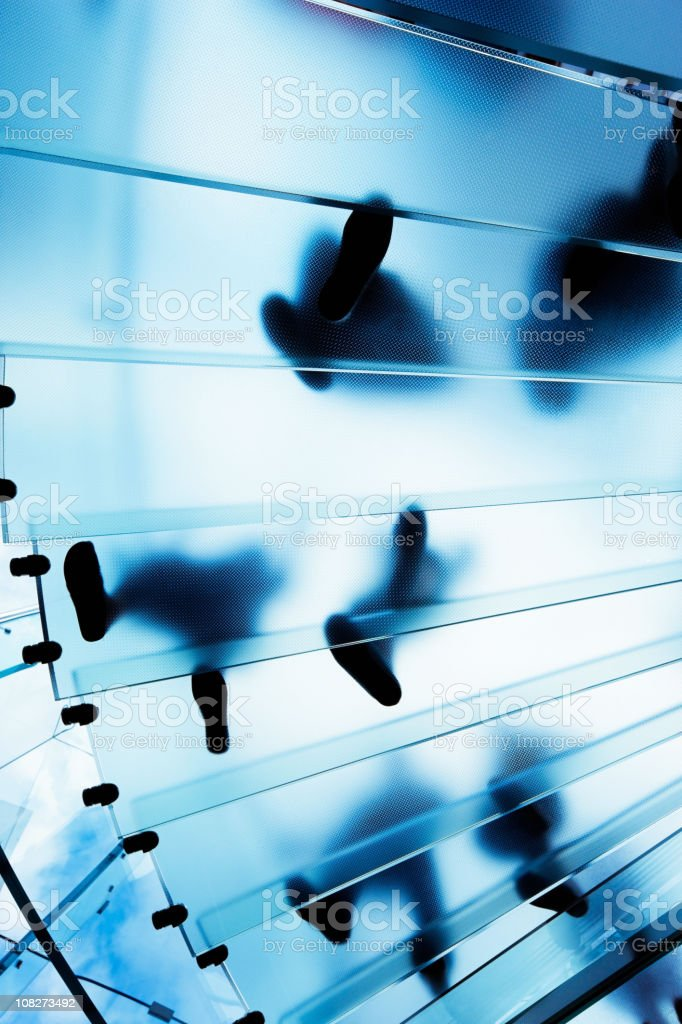 Modern Glass Staircase with People royalty-free stock photo