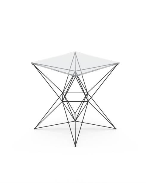 moderner glastisch, isolated on white background - couchtisch metall stock-fotos und bilder