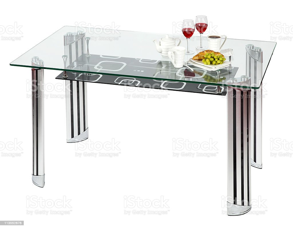Modern glass top dining table royalty-free stock photo