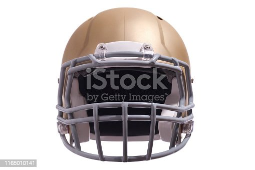 A gold colored modern football helmet front view isolated on white background