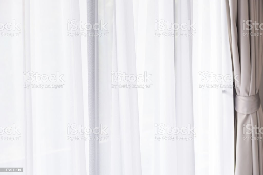Modern Gray And White Curtains In Living Room Stock Photo Download Image Now Istock