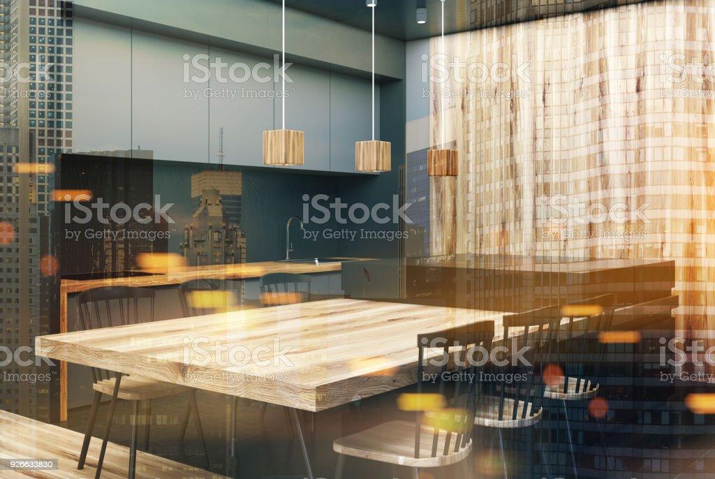 Moderne Grau Und Holz Esszimmer Ecke Getont Stockfoto Und Mehr