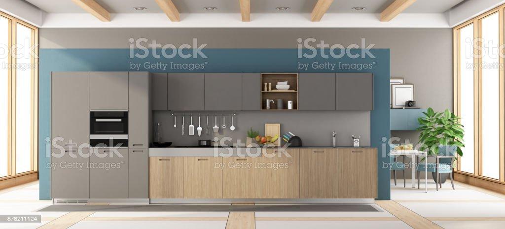 Moderne Grau Und Holz Kuche Stockfoto Und Mehr Bilder Von