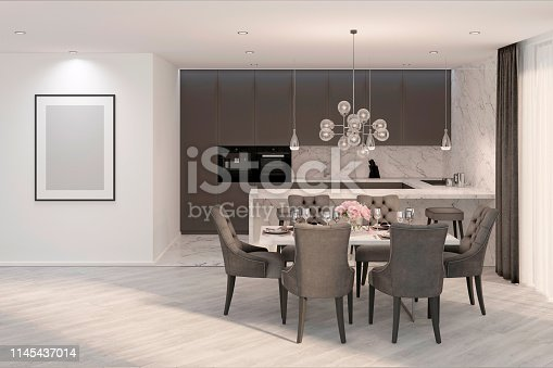 istock A modern gray kitchen with mock up frame 1145437014
