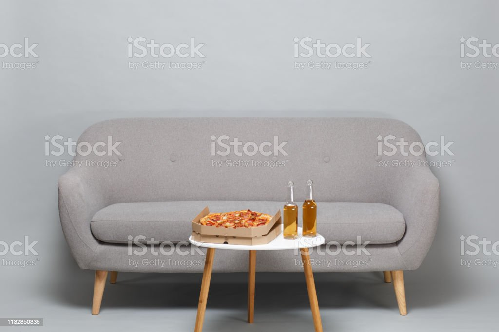 Pleasant Modern Gray Sofa On Wooden Legs White Coffee Table With Theyellowbook Wood Chair Design Ideas Theyellowbookinfo
