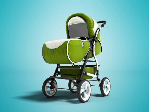 Modern green baby carriage for all weather with white sun 3d rendering on blue background with shadow Modern green baby carriage for all weather with white sun 3d rendering on blue background with shadow baby carriage stock pictures, royalty-free photos & images