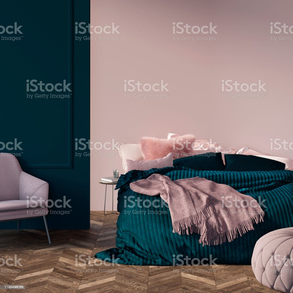 Modern Green Bedroom With Pink Mockup Wall Stock Photo ...
