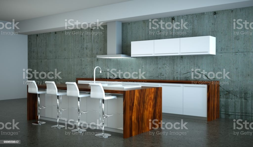 Modern Green Kitchen In Loft With A Beautiful Design Stock Photo