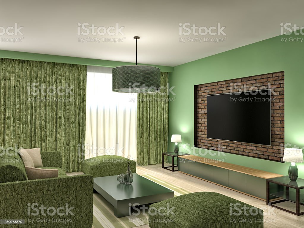 Modern Green Living Room Interior Design 3d Illustration Stock Photo Download Image Now Istock