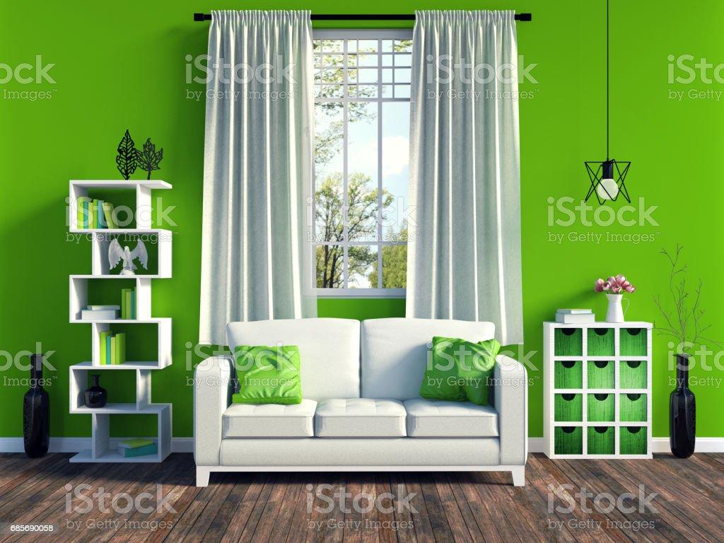 Moderne grüne Wohnzimmer Interieur mit alten Holzfußböden – Foto