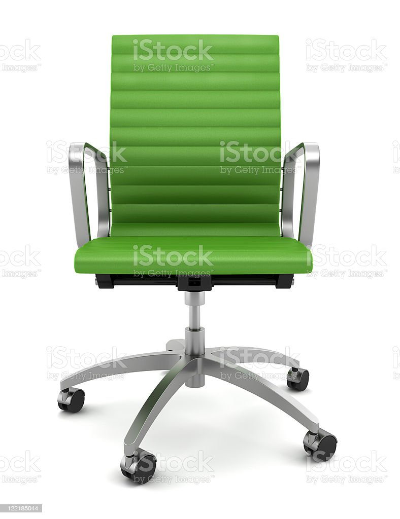 modern green office chair isolated on white background stock photo