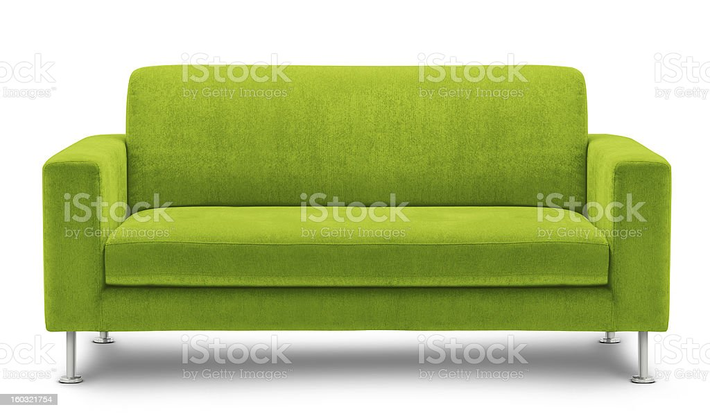 Modern green sofa design on white background stock photo