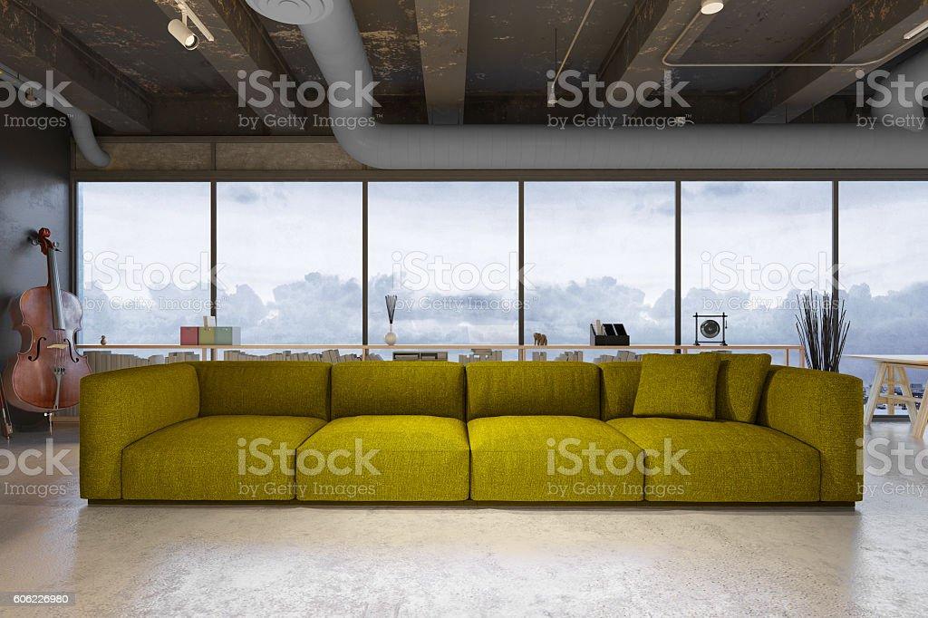 Modern green sofa in a loft stock photo