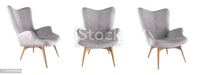 Modern grey armchair set isolated on white background. 3D render illustration.