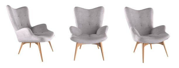 Modern grey armchair set isolated on white. 3D render. Modern grey armchair set isolated on white background. 3D render illustration. armchair stock pictures, royalty-free photos & images