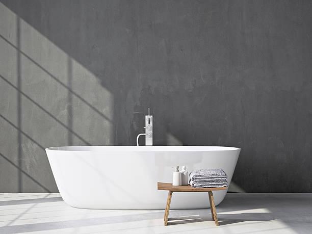 Cinza moderno banheiro com banheira. 3 d representação artística - foto de acervo