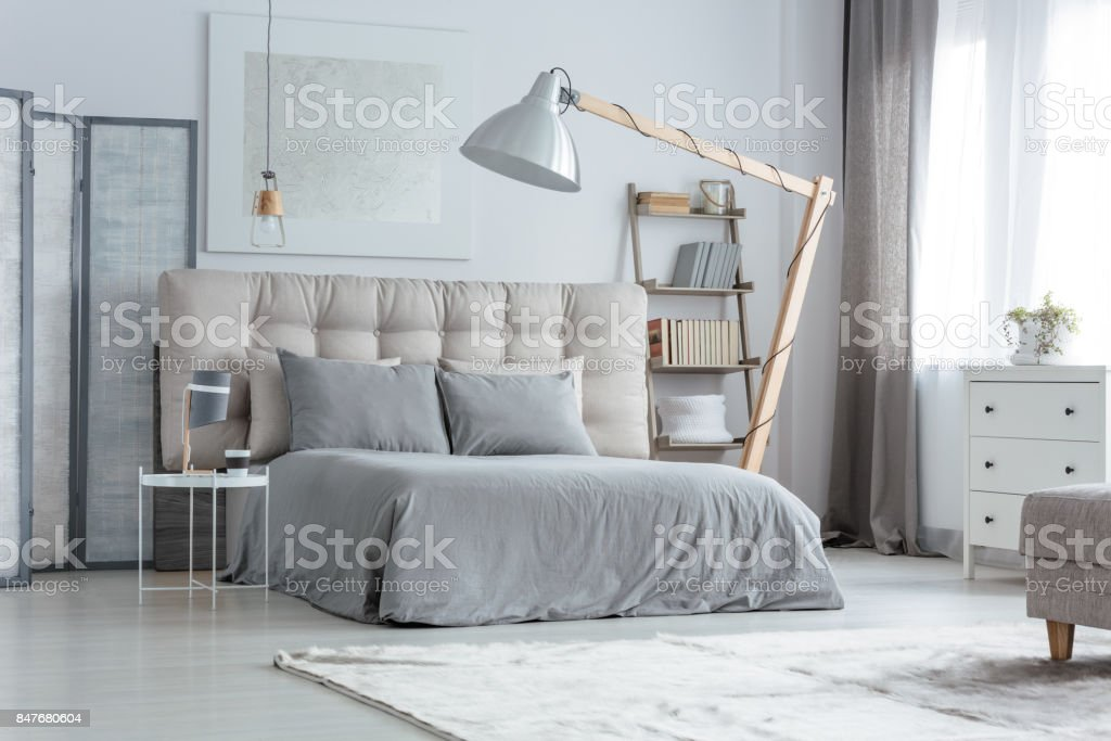 Modern grey bedroom stock photo
