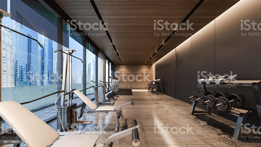 Modern gym d rendering stock photo more pictures of