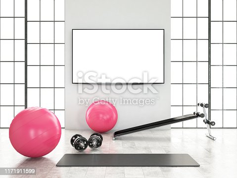 Modern Gym and Fitness Equipments with Windows. 3D Render