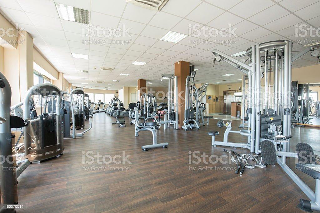 Modern gym interior stock photo