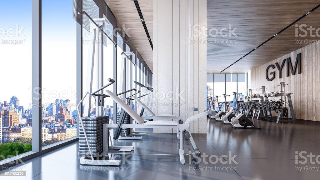 Interior do ginásio moderno com vista da cidade, renderização em 3d - Foto de stock de Academia de ginástica royalty-free