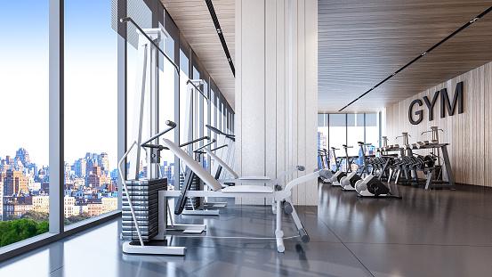 Foto de Interior Do Ginásio Moderno Com Vista Da Cidade Renderização Em 3d e mais fotos de stock de Academia de ginástica