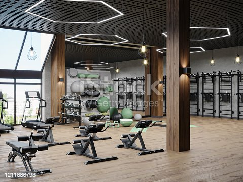 Modern gym interior with sport and fitness equipment, fitness center interior, interior  workout gym, 3d rendering