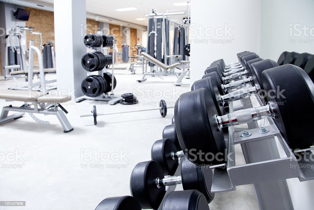 Modern gym weight training equipment stock photo