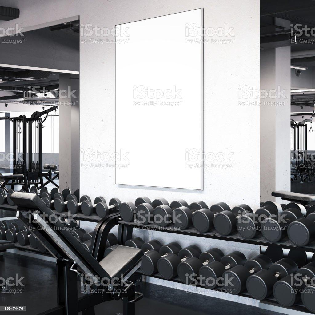 Moderner Fitnessraum Mit Bilderrahmen An Der Wand 3drendering Stock ...