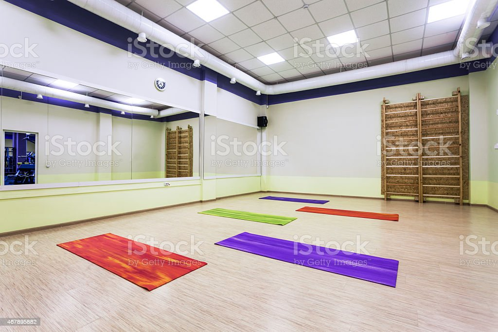modern gymnastics room with mirrors stock photo
