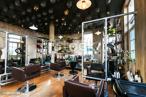 Interior of modern hair salon in London, UK