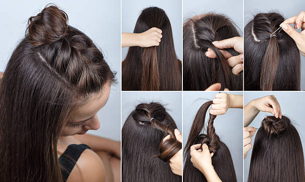 modern hairstyle bun with plait tutorial stock photo