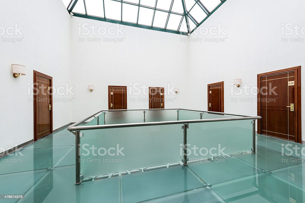 Modern Hall With Glass Banister And Roof Stock Photo Download Image Now Istock