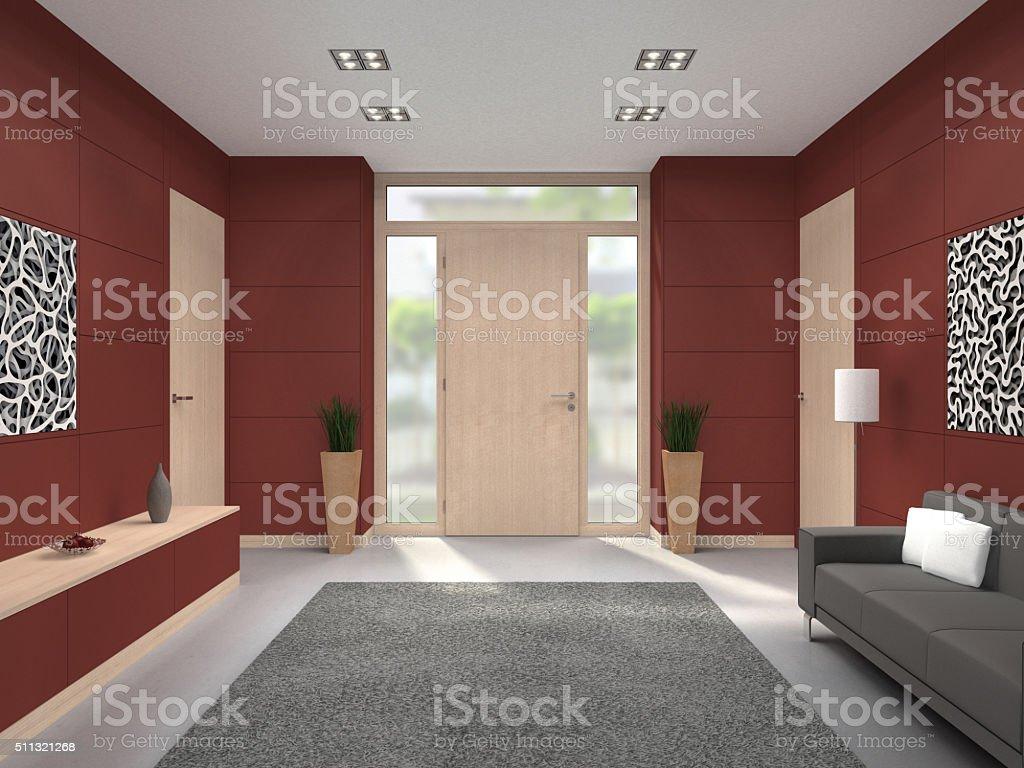 Couloir intérieur moderne fornt porte - Photo