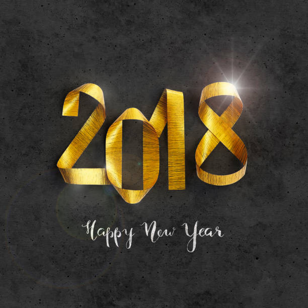Modern hand-drawn black textured New Year 2018 greeting card stock photo