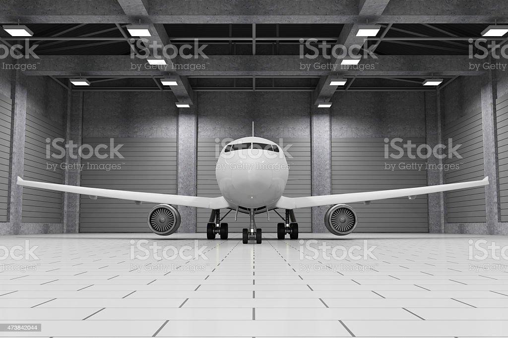 Moderne Hangar Interieur mit modernen Flugzeug innen Lizenzfreies stock-foto
