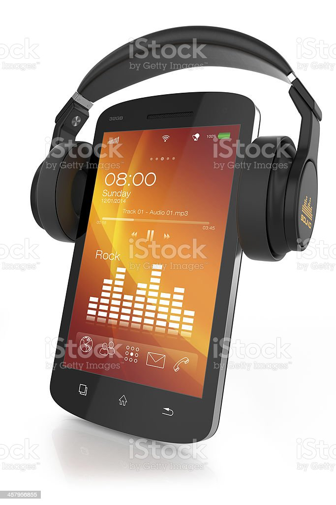 Modern headphones on musical smartphone stock photo