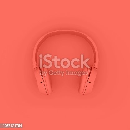istock Modern Headphones trend living Coral color 1087121764