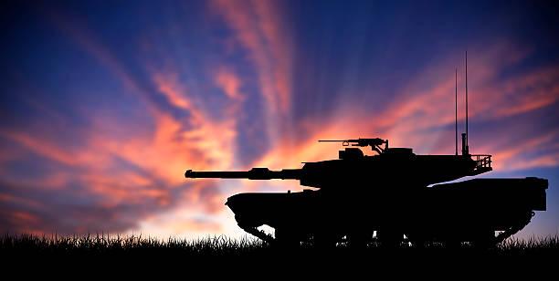 Modern heavy tank at sunset stock photo