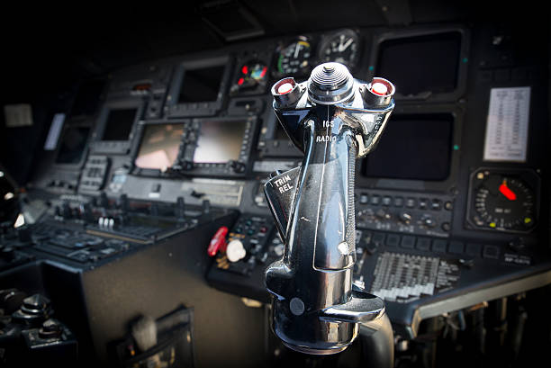 modern helicopter cockpit - cyclic stock pictures, royalty-free photos & images