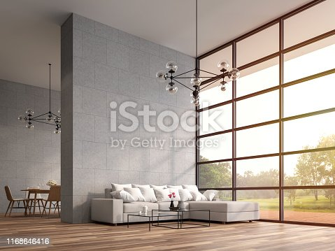 Modern high ceiling loft living and dining room 3d render.The Rooms have wooden floors ,decorate with white furniture,There are large window Overlooks wooden terrace and large garden.