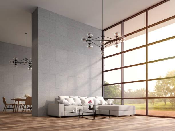 Moderne hohe Decke Loft Wohn-und Esszimmer 3D render – Foto