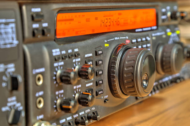 modern high frequency radio amateur transceiver - ham radio stock photos and pictures