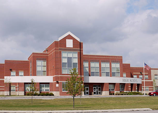 Modern High School Building An interesting example of updated high school architecture. high school building stock pictures, royalty-free photos & images