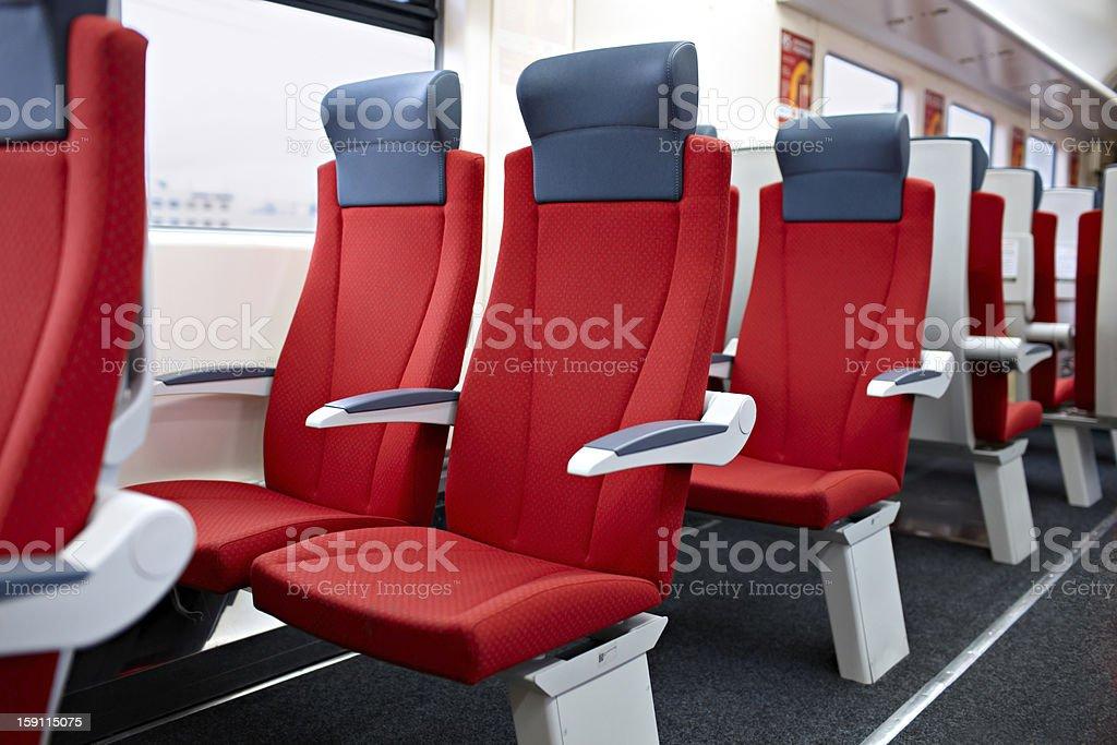 Modern high speed train interior. stock photo